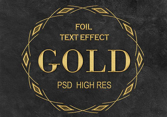 Golden Foil Text PSD