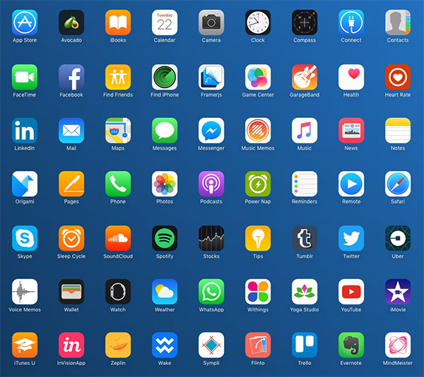 90 Vectorized iOS Popular Apps