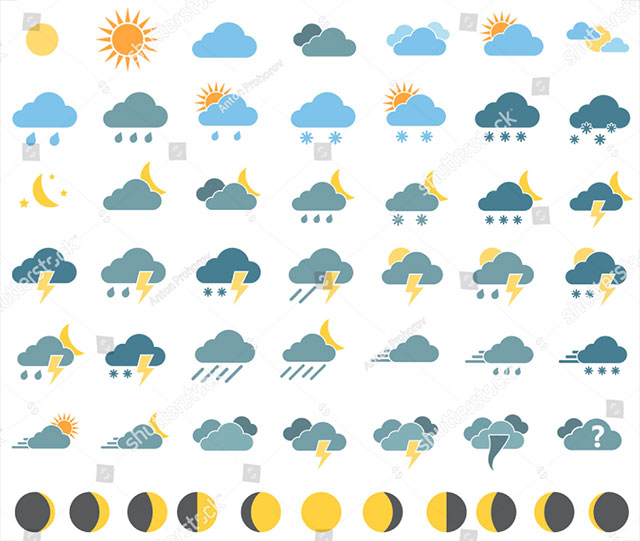Icons For Weather Forecast + Moon Phases