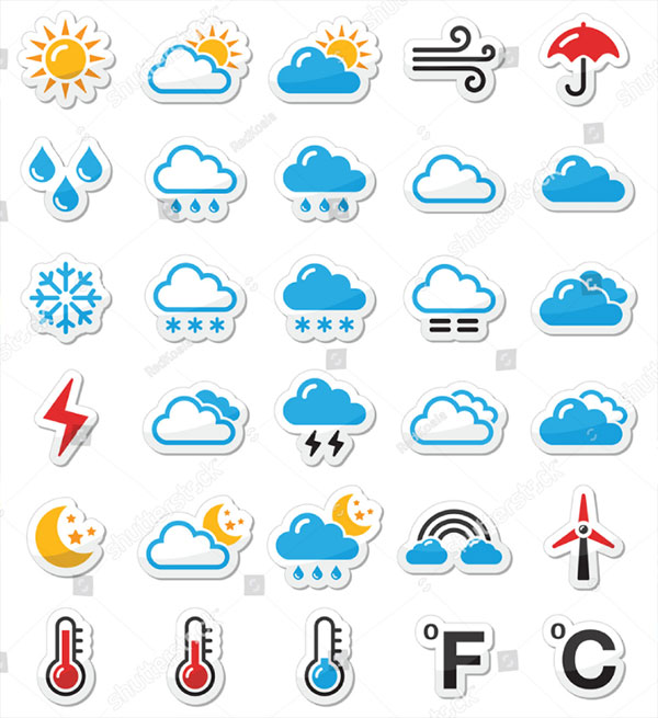 Vector Weather Iconset As Labels