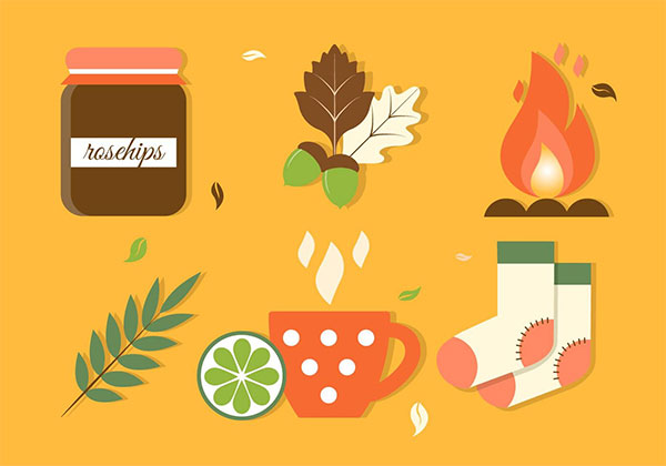 Flat Design Vector Autumn Elements And Icons