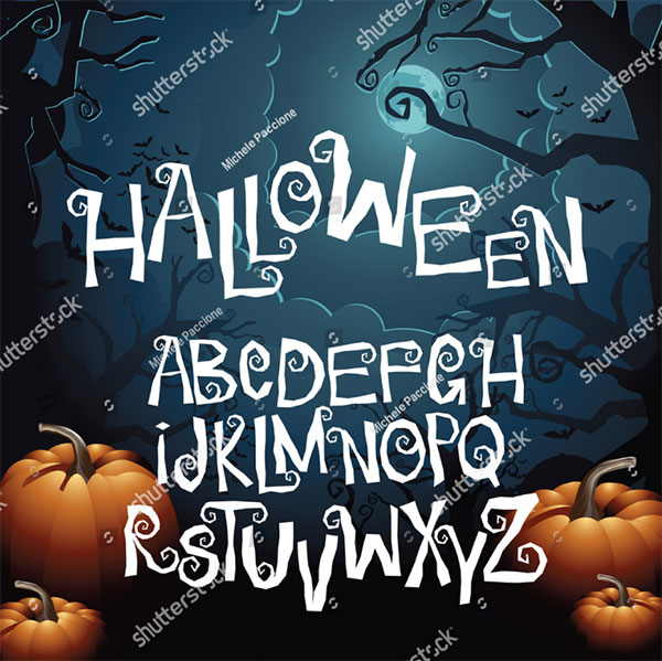 Halloween Hand drawn Creepy Font Alphabet