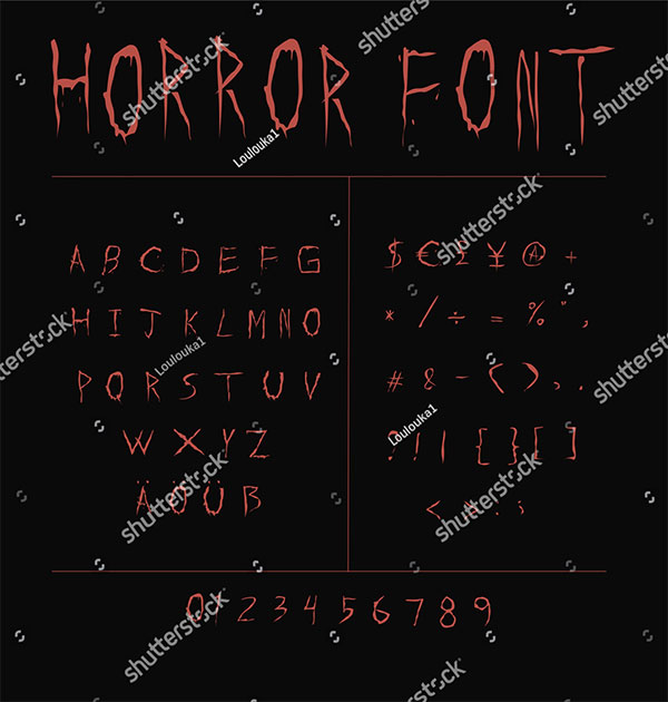 Red Creepy Horror Font on Black