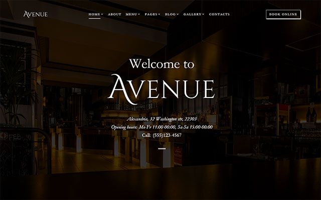 HTML шаблон Avenue - Restaurant Responsive Multipage HTML