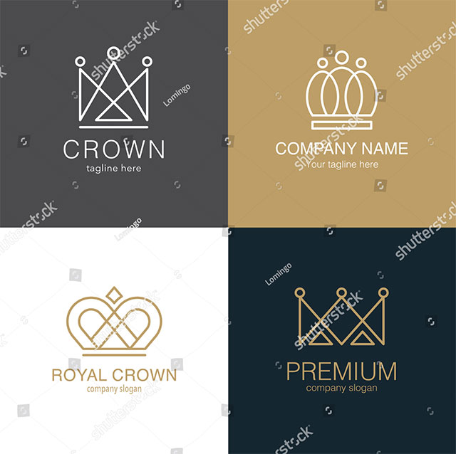 Set of Crown Logo Templates