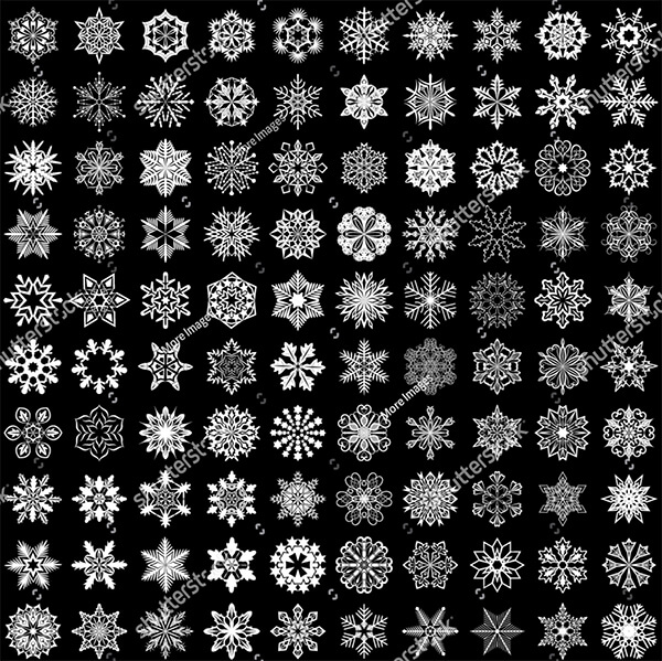 VectorSet 100 Snowflakes on Black Background