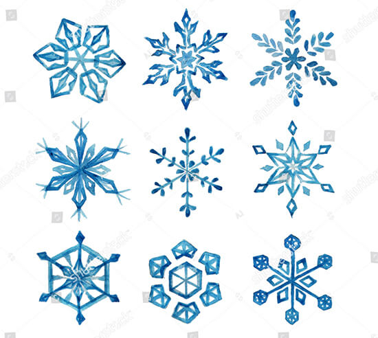 Watercolor Snowflakes Set
