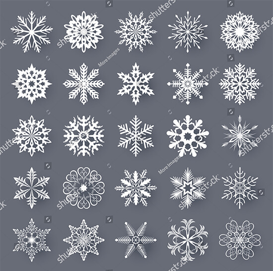 White Snowflake Shapes