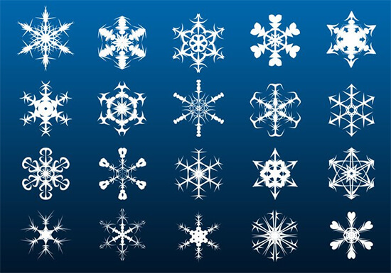 20 Big Snowflakes Set