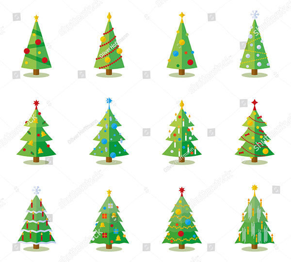 12 Vector Flat Christmas Trees with Decoration