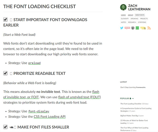 The Font Loading Checklist