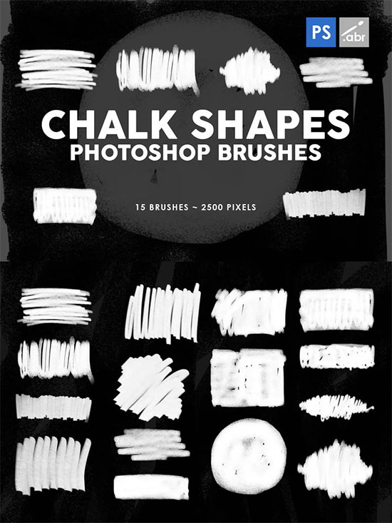 15 Chalk Shapes Photoshop Stamp Brushes