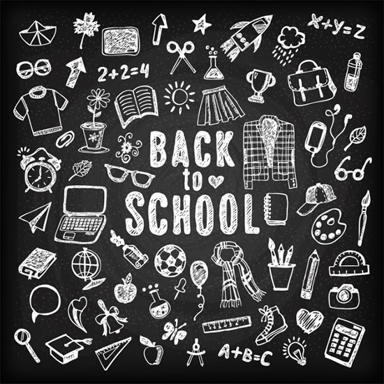 Blackboard Background With Sketches