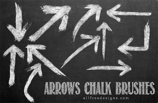 11 Sketched Arrows Brushes Featuring Chalk Effect Texture