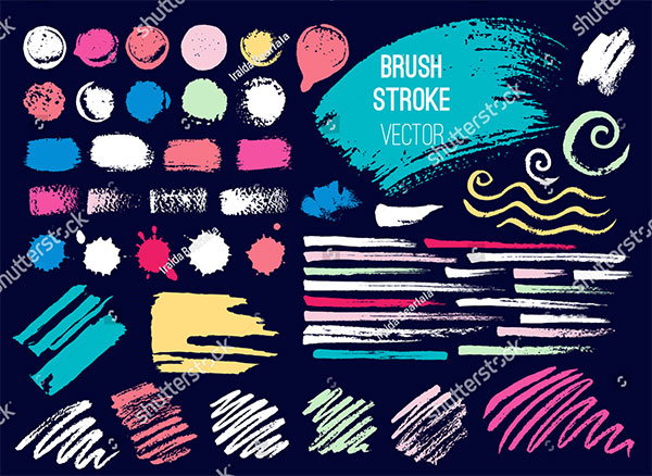 Set Brush Stroke, Handdrawn Vector