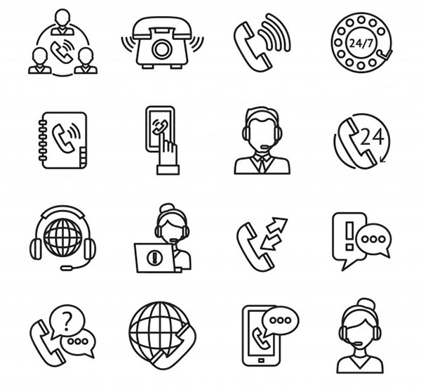 Call-center outline icons set Free Vector