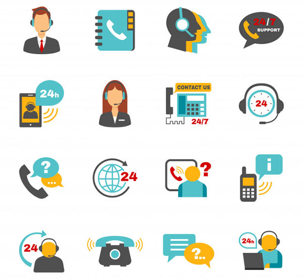 Support contact call center icons set Free Vector