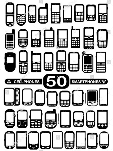 50 Vector Cellphones and Smartphones