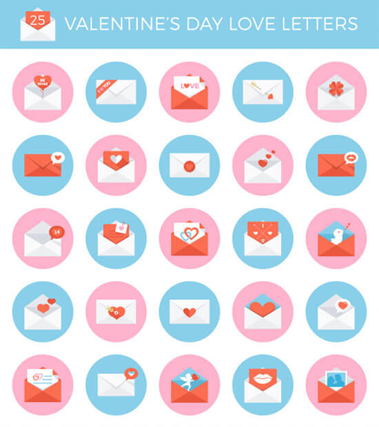 Mothers Day Love Letter Vector Iconpack