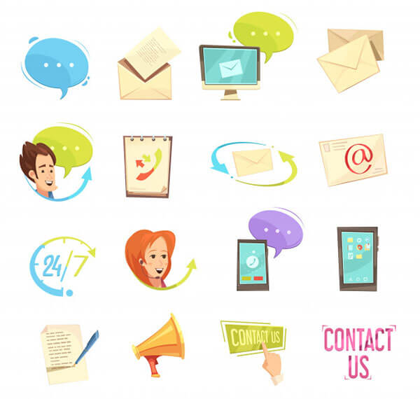 Contact Us Retro Cartoon Icons