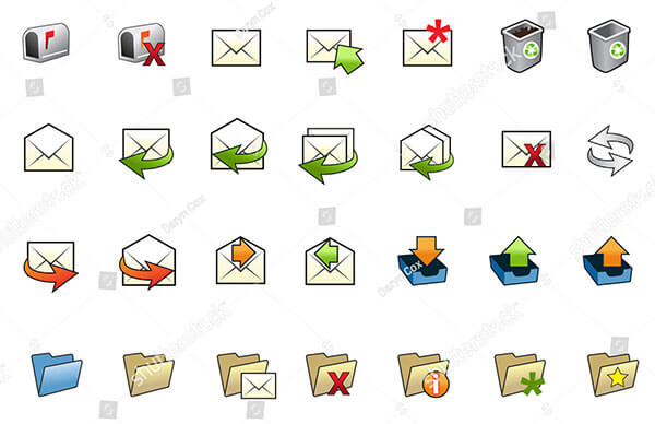 Illustrated Collection of Various Mail Icons