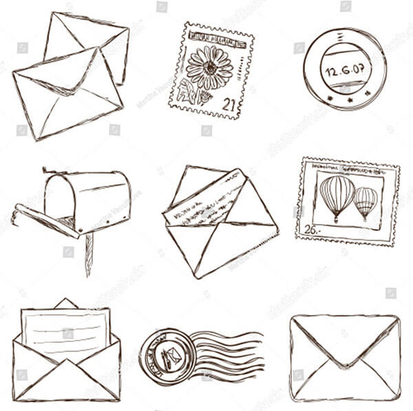 Illustration Postal Mailing Icons Sketch Style