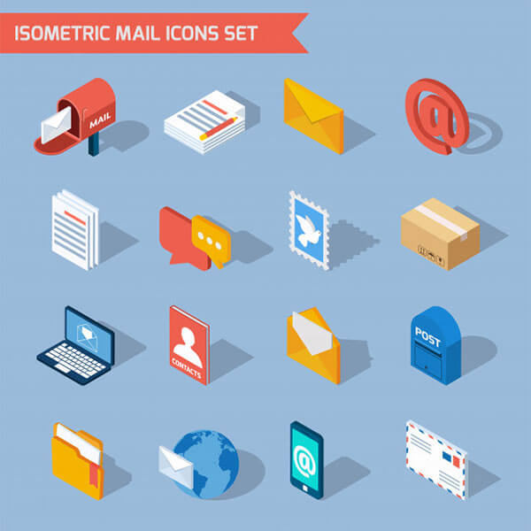 Isometric Mail-icons