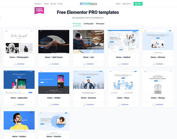 Free Elementor PRO Templates
