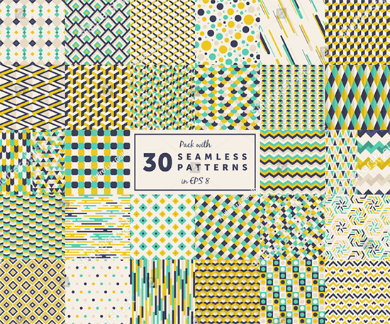 30 Colored Seamless Geometric Pattern