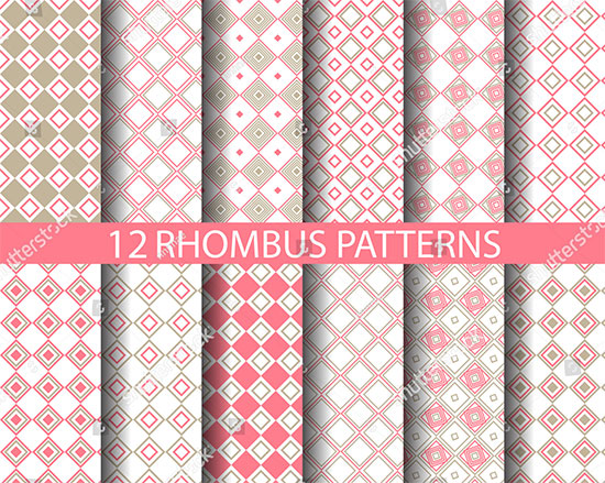 Sweet Rhombus Seamless Patterns