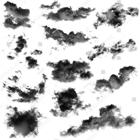 Black Clouds Isolated on White Background