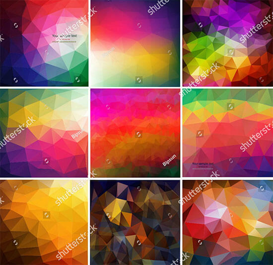 Set Nine Colorful Abstract Geometric Background